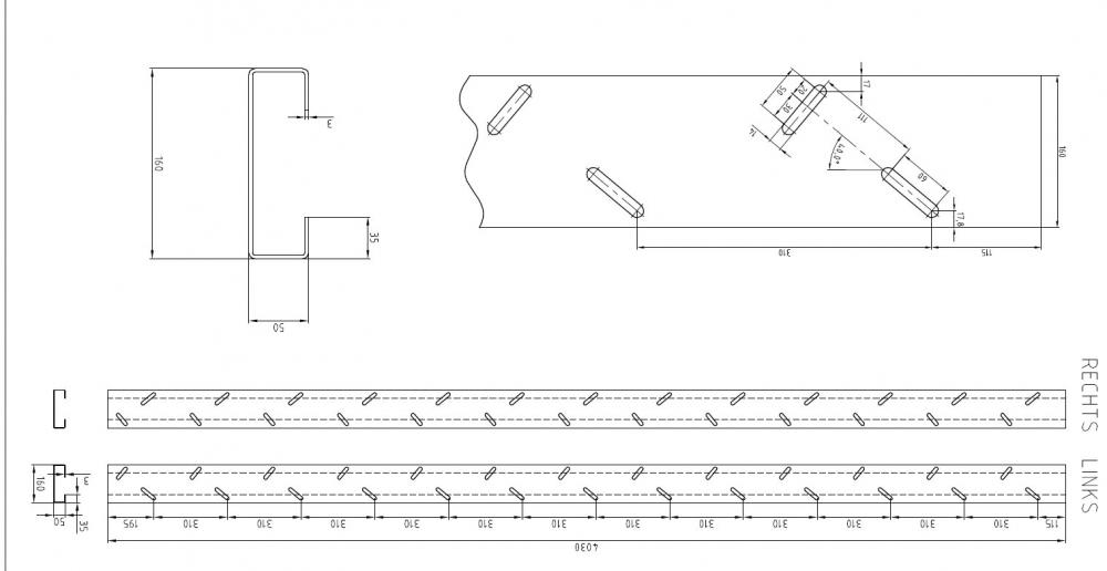 profishop f r stahl edelstahl und aluminium treppenwange rechts l nge 4000 mm f r. Black Bedroom Furniture Sets. Home Design Ideas